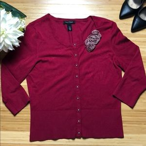 WHBM Deep Red Cardigan Sweater with snap buttons M